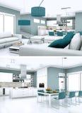 Deux vues de conception intérieure moderne de grenier Photos stock