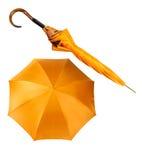Deux vues de parapluie jaune photos libres de droits