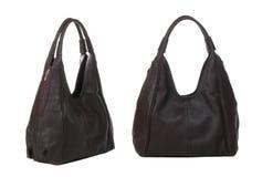 Deux vues de sac de femmes de brun foncé Photos stock