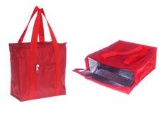 Deux vues de sac de refroidissement rouge photos stock