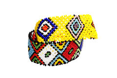 Deux Zulu Beadwork Bracelets dans des couleurs lumineuses Image libre de droits