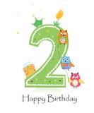 Deuxième bougie heureuse d'anniversaire avec le vecteur de carte de voeux de bébé de hiboux Images stock