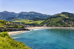 Deva beach, province of Guipuzcoa, Basque Country, Spain. The beach of Santiago de Deva, is located on the right bank of the mouth of the River Deva and is part stock photos