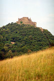 Deva fortress. Ruins, view from South-West. The hill is a natural reservation stock photography