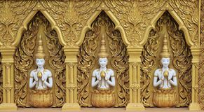 Deva and Lotus in Golden Wall. A beautiful place in Phitsanulok Stock Photos