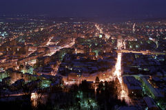 Deva night, Romania. Deva night view from fortress Stock Image