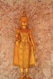 Deva statue. Close up golden statue of deva in the temple royalty free stock photo