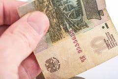 Devaluación rusa de la divisa nacional imagenes de archivo