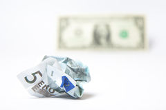 Devaluated Euro. Concept of devaluated euro vs the dollar stock photography