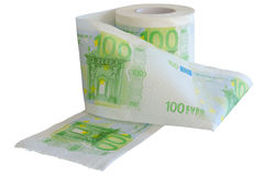 Devaluation - money depreciation. European banknotes. Devaluation - money depreciation. European banknotes looking like toilet paper roll Royalty Free Stock Images