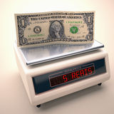 Devaluation Of The Real. Scales to weigh the price of the dollar in Brazilian money. Clipping path included Royalty Free Stock Photography