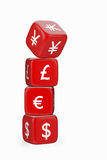 Devaluation of Yuan / Yen. Stack of Red Dices with Currency Symbols. Dice with Yen / Yuan Symbol Falling Down Stock Photo
