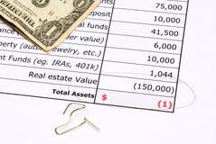 Devalued real estate balance sheet Royalty Free Stock Images
