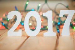 2017 devant des lumières de Noël Photographie stock libre de droits