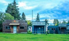 Devanture de magasin de ville fantôme, miroir, Alberta Photo stock