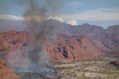 Devastación del fuego, al lado del camino - cafayate, al norte de la Argentina imagen de archivo