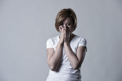 Devastated depressed woman crying sad feeling hurt suffering depression in sadness emotion Stock Images