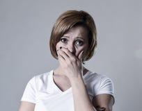 Devastated depressed woman crying sad feeling hurt suffering depression in sadness emotion Royalty Free Stock Photos