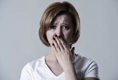 Devastated depressed woman crying sad feeling hurt suffering depression in sadness emotion Stock Photo