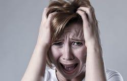 Devastated depressed woman crying sad feeling hurt suffering depression in sadness emotion Royalty Free Stock Photo