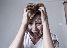 Devastated depressed woman crying sad feeling hurt suffering depression in sadness emotion Royalty Free Stock Images