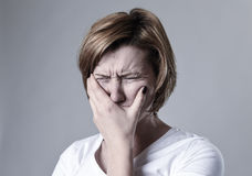Devastated depressed woman crying sad feeling hurt suffering depression in sadness emotion Royalty Free Stock Photography