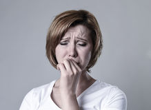 Devastated depressed woman crying sad feeling hurt suffering depression in sadness emotion Stock Image