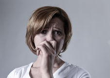 Devastated depressed woman crying sad feeling hurt suffering depression in sadness emotion Stock Photography