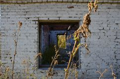 A devastated house. This picture shows a demolished building royalty free stock photography