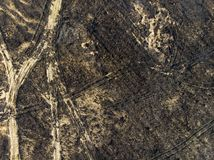 Devastated land, after a fire, top view. Disaster and emergency events, negative impact on nature. Devastated land, after a fire. Emergency events and disasters stock photo