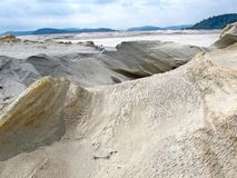 Devastated nature on an open pit copper mine. Of the mine Majdanpek in Serbia by ore flotation royalty free stock image