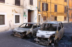 Devastation of cars in Rome Royalty Free Stock Images