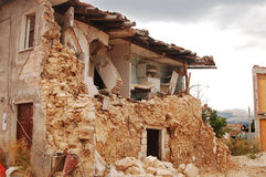 The devastation caused by the earthquake. The rubble after the devastation of an earthquake Stock Photo