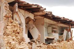 The devastation caused by the earthquake. The rubble after the devastation of an earthquake Stock Image