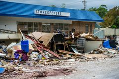 The devastation of Hurricane Harvey. Trash and debris outside of Houston homes devastated after Hurricane Harvey royalty free stock photography