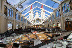 Devastation after typhoon Haiyan. Palo, Leyte-November 17,2013: Remains of Palo catholic church after devastated by typhoon Haiyan (Yolanda) in the Philippines royalty free stock images