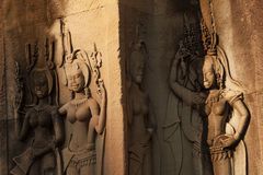 Devata carvings in Angkor Wat Royalty Free Stock Photo