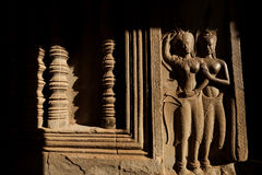 Devata carvings in Angkor Wat Stock Photography