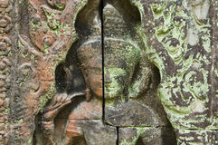 Devata rzeźba, Banteay Kdei świątynia, Kambodża Zdjęcia Stock