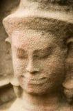Devata stagionato affronta, pre tempio di Rup, Cambogia fotografia stock libera da diritti