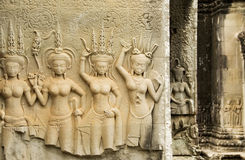 Devata temple carvings, Angkor Wat, Cambodia Stock Image