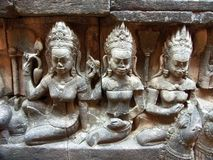 Devatas. Stone sculptures of women in the Khmer King's harem Stock Image