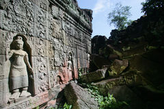 Devatas. Carved on the wall of temple of Angkor Royalty Free Stock Photos