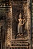 Devatas bareliefy przy Ta Prohm świątynią Zdjęcia Royalty Free
