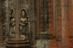 Devatas carving in Ta Prohm temple Royalty Free Stock Images