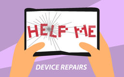 Devcie repairs flat design sign. Vector illustration of broken tablet PC with help me lettering for advertising banners, posters Royalty Free Stock Photos
