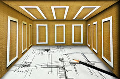 Develop construction plan for real construction Stock Image