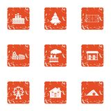 Develop a house icons set, grunge style. Develop a house icons set. Grunge set of 9 develop a house vector icons for web isolated on white background vector illustration