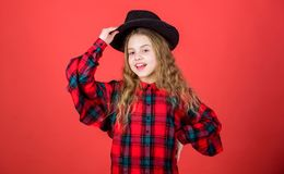Develop talent into career. Enter acting academy. Girl artistic kid practicing acting skills with black hat. Acting. School for children. Acting lessons guide stock images