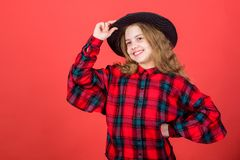 Develop talent into career. Girl artistic kid practicing acting skills with black hat. Enter acting academy. Acting. School for children. Acting lessons guide royalty free stock photos